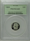 Proof Roosevelt Dimes: , 1963 10C PR67 Deep Cameo PCGS. PCGS Population (229/552). NGCCensus: (151/529). Numismedia Wsl. Price: $25. (#95238)...