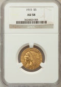 Indian Half Eagles: , 1915 $5 AU58 NGC. NGC Census: (1164/4465). PCGS Population(708/3148). Mintage: 588,075. Numismedia Wsl. Price for problem ...