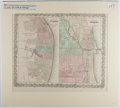 Books:Maps & Atlases, [Map]. J. H. Colton. Hand-Colored City Map of St. Louis andChicago. Colton, 1855. Matted size approx. 18 x 20 inches. Fine....