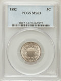 Shield Nickels: , 1882 5C MS63 PCGS. PCGS Population (256/602). NGC Census:(125/516). Mintage: 11,476,000. Numismedia Wsl. Price forproblem...