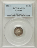 Seated Half Dimes: , 1854 H10C Arrows AU53 PCGS. PCGS Population (21/377). NGC Census:(3/510). Mintage: 5,740,000. Numismedia Wsl. Price for pr...