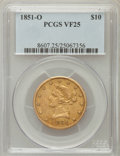 Liberty Eagles: , 1851-O $10 VF25 PCGS. PCGS Population (4/437). NGC Census: (1/850).Mintage: 263,000. Numismedia Wsl. Price for problem fre...