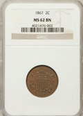 Two Cent Pieces: , 1867 2C MS62 Brown NGC. NGC Census: (73/273). PCGS Population(16/88). Mintage: 2,938,750. Numismedia Wsl. Price for proble...