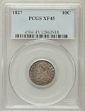 Bust Dimes: , 1827 10C XF45 PCGS. PCGS Population (17/198). NGC Census: (13/216).Mintage: 1,300,000. Numismedia Wsl. Price for problem f...