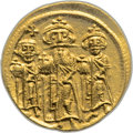 Ancients:Byzantine, Ancients: Heraclius, with Heraclius Constantine and Heraclonas (AD610-641). AV solidus (20mm, 4.49 gm, 6h)....