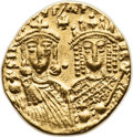 Ancients:Byzantine, Ancients: Constantine VI and Irene (AD 780-797). AV solidus (19mm,4.41 gm, 6h). ...