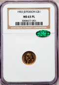 Commemorative Gold, 1903 G$1 Louisiana Purchase/Jefferson MS63 Prooflike NGC. CAC....