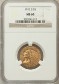 Indian Half Eagles: , 1912-S $5 MS60 NGC. NGC Census: (22/214). PCGS Population (7/159).Mintage: 392,000. Numismedia Wsl. Price for problem free...