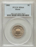 Shield Nickels: , 1883 5C MS64 PCGS. PCGS Population (492/318). NGC Census:(415/370). Mintage: 1,456,919. Numismedia Wsl. Price for problem...