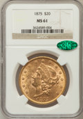 Liberty Double Eagles: , 1875 $20 MS61 NGC. CAC. NGC Census: (329/245). PCGS Population(189/306). Mintage: 295,740. Numismedia Wsl. Price for probl...