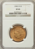 Indian Eagles: , 1908-S $10 XF45 NGC. NGC Census: (57/586). PCGS Population(59/497). Mintage: 59,850. Numismedia Wsl. Price for problem fre...