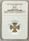 California Fractional Gold: , 1871 25C Liberty Octagonal 25 Cents, BG-767, R.3, MS62 NGC. NGCCensus: (8/7). PCGS Population (71/36). (#10594)...