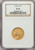 Indian Half Eagles: , 1909-S $5 XF45 NGC. NGC Census: (31/547). PCGS Population (45/356).Mintage: 297,000. Numismedia Wsl. Price for problem fre...