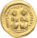 Ancients:Byzantine, Ancients: Justin I and Justinian I (4 April-1 August AD 527). AVsolidus (21mm, 4.51 gm, 6h)....