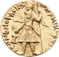 Ancients:Oriental, Ancients: KUSHAN EMPIRE. Kanishka I (ca. AD 127-152). AV dinar (21mm, 7.94 gm, 12h). ...