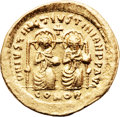 Ancients:Byzantine, Ancients: Justin I and Justinian I (4 April-1 August AD 527). AVsolidus (21mm, 4.43 gm, 6h)....