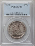 Seated Half Dollars: , 1863-S 50C XF40 PCGS PCGS Population (11/111). NGC Census: (1/81).Mintage: 916,000. Numismedia Wsl. Price for problem free...