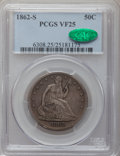 Seated Half Dollars: , 1862-S 50C VF25 PCGS CAC. PCGS Population (3/93). NGC Census:(1/76). Mintage: 1,352,000. Numismedia Wsl. Price for problem...