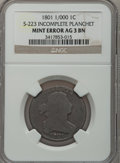 Large Cents, 1801 1C 1/000 -- Incomplete Planchet -- AG3 Brown NGC. S-223. PCGSPopulation (0/38). (#1464). Ex: E...
