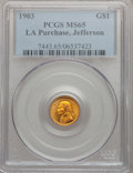 Commemorative Gold, 1903 G$1 Louisiana Purchase/Jefferson MS65 PCGS....