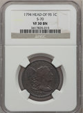 Large Cents, 1794 1C Head of 1795 VF30 NGC. S-70, B-62, R.2....