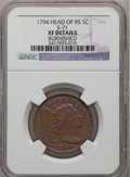 Large Cents, 1794 1C Head of 1795 -- Burnished -- NGC Details. XF. S-71, B-63,R.2....