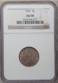 Liberty Nickels: , 1907 5C AU58 NGC. NGC Census: (28/505). PCGS Population (66/643).Mintage: 39,214,800. Numismedia Wsl. Price for problem fr...