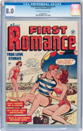 Golden Age (1938-1955):Romance, First Romance #1 (Harvey, 1949) CGC VF 8.0 Off-white to whitepages....