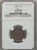 Half Cents, 1854 1/2 C AU50 Brown NGC. C-1. NGC Census: (5/500). PCGSPopulation (33/400). Mintage: 55,358. Numismedia Wsl. Price for ...