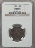 1826 1/2 C VF35 Brown NGC. NGC Census: (13/414). PCGS Population (16/227). Mintage: 234,000. Numismedia Wsl. Price for p...