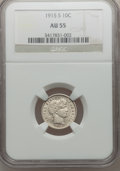 Barber Dimes: , 1915-S 10C AU55 NGC. NGC Census: (5/109). PCGS Population (11/136).Mintage: 960,000. Numismedia Wsl. Price for problem fre...