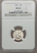 Barber Dimes: , 1901 10C MS62 NGC. NGC Census: (41/169). PCGS Population (64/226).Mintage: 18,860,478. Numismedia Wsl. Price for problem f...