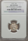 Barber Dimes: , 1915 10C -- Obv Improperly Cleaned -- NGC Details. UNC. NGC Census:(0/253). PCGS Population (3/340). Mintage: 5,620,450. N...