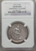 Seated Half Dollars: , 1875-S 50C -- Improperly Cleaned -- NGC Details. AU. NGC Census:(3/232). PCGS Population (8/282). Mintage: 3,200,000. Numi...