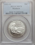 Modern Issues: , 1993-W 50C Bill of Rights Half Dollar MS70 PCGS. PCGS Population(108). NGC Census: (171). Mintage: 173,224. Numismedia Wsl...
