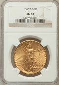 Saint-Gaudens Double Eagles: , 1909-S $20 MS63 NGC. NGC Census: (1688/1585). PCGS Population(1853/2071). Mintage: 2,774,925. Numismedia Wsl. Price for pr...
