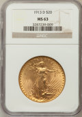 Saint-Gaudens Double Eagles: , 1913-D $20 MS63 NGC. NGC Census: (1081/992). PCGS Population(1213/1617). Mintage: 393,500. Numismedia Wsl. Price for probl...