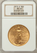 Saint-Gaudens Double Eagles: , 1913-D $20 MS63 NGC. NGC Census: (1081/993). PCGS Population(1214/1618). Mintage: 393,500. Numismedia Wsl. Price for probl...