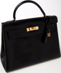 Luxury Accessories:Bags, Heritage Vintage: Hermes 32cm Black Box Calf Leather KellyBag with Gold Hardware. ...