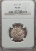 Barber Quarters: , 1915 25C MS61 NGC. NGC Census: (13/311). PCGS Population (17/444).Mintage: 3,480,450. Numismedia Wsl. Price for problem fr...