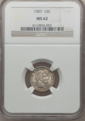 Barber Dimes: , 1907 10C MS62 NGC. NGC Census: (42/268). PCGS Population (70/275).Mintage: 22,220,576. Numismedia Wsl. Price for problem f...