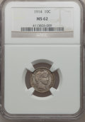 Barber Dimes: , 1914 10C MS62 NGC. NGC Census: (59/591). PCGS Population (103/682).Mintage: 17,360,656. Numismedia Wsl. Price for problem ...