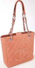 Luxury Accessories:Bags, Heritage Vintage: Chanel Peach Quilted Caviar Leather PetiteShopping Tote. ...