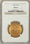 Liberty Eagles: , 1906-D $10 MS63 NGC. NGC Census: (590/175). PCGS Population(457/214). Mintage: 981,000. Numismedia Wsl. Price for problem ...