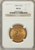 Liberty Eagles: , 1906-D $10 MS63 NGC. NGC Census: (591/175). PCGS Population(457/213). Mintage: 981,000. Numismedia Wsl. Price for problem ...