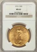 Saint-Gaudens Double Eagles: , 1915 $20 MS63 NGC. NGC Census: (368/410). PCGS Population(571/325). Mintage: 152,050. Numismedia Wsl. Price for problemfr...