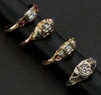 Four Early Gold & Diamond Rings