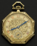 Timepieces:Pocket (post 1900), Gruen 14k Gold Pocket Watch. ...
