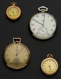 Timepieces:Other , Elgin & Gruen Pocket Watches And Two Elgin Pendant Watches. ...(Total: 4 Items)