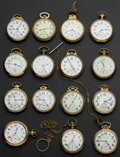 Timepieces:Pocket (post 1900), A Lot Of Fifteen Pocket Watches Railroad Pocket Watches All RunnersTwo Are 23 Jewels. ... (Total: 15 Items)